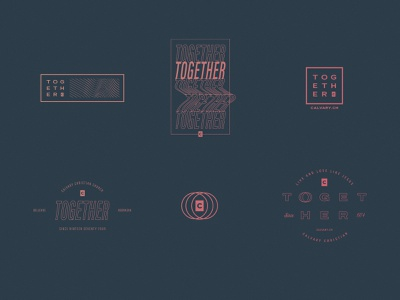 TOGETHER | Unused Concepts church ministry calvary gradient outline together lockup up lock text warp wave modern type t-shirt design t-shirt tshirt design