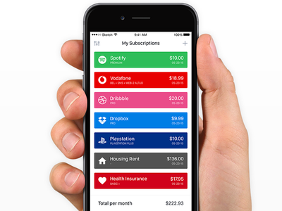 Subscriptions App money cost billing reminders cards iphone ios app subscriptions