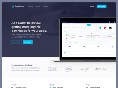 App Radar Marketing Website analytics aso interface homepage dashboard app store web website iphone ios apps landing page