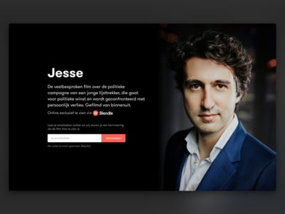 Blendle x Jesse Landing Page jesse netflix web dark movie email signup ui landingpage blendle