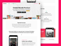 Discover Blendle Premium Landing newspapers magazines mobile audio news articles journalism marketing landing page website blendle android ios app ui