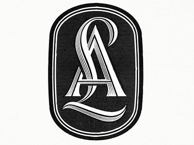 LetterAlley Monogram lettering monogram serif swash type typography custom badge mark calligraphy