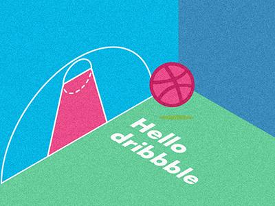 Hello Dribbble! vector flat debut