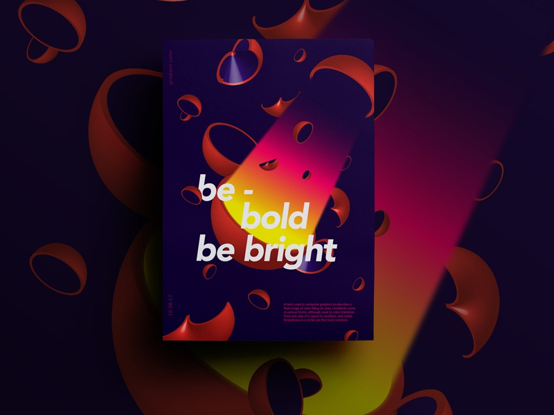 Be Bright Poster Series 3d poster gradient color