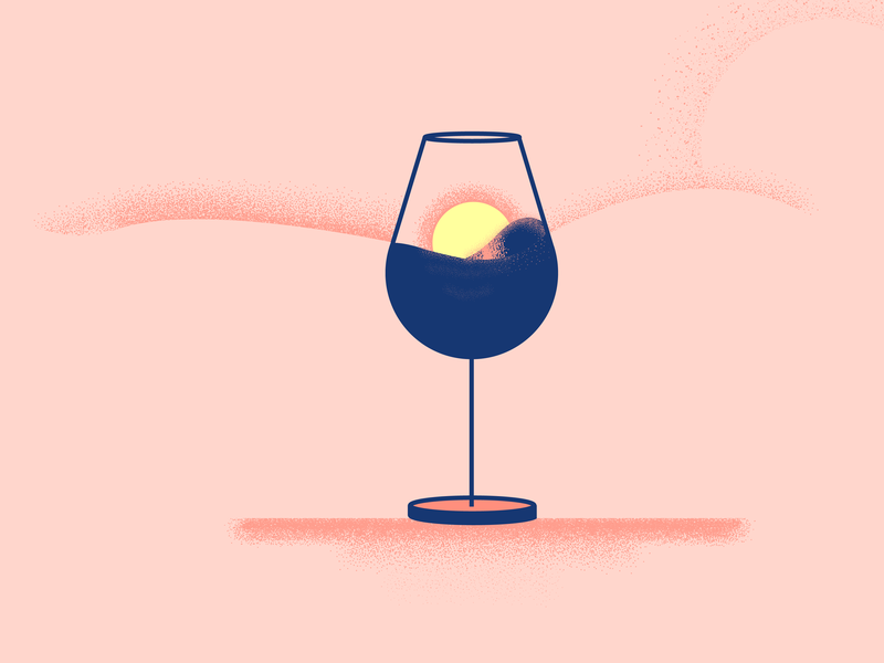 Sunset Drink wine drink sunset flat ui noise illustration vector