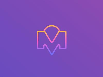 M + Location Pin mobile app branding ux vector icon design logo illustration