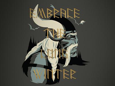 Embrace the Long Winter Illustration runes gold-ink shirt-design screen-print illustration got minnesota-vikings game-of-thrones viking typography