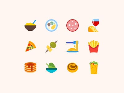 Food Icons in Color Style color icons icon set icon pack icons design tasty food icons food illustration icons icon vector illustration digital art ui web design ux illustration vector art design tools flat design graphic design design