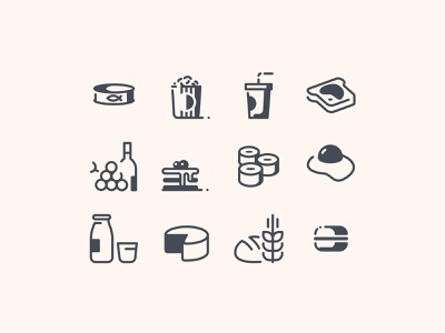 Food Icons in Pastel Glyph Style icon designs ui icons food icons icon pack icon set icon design tasty meals cooking food icons ui web design ux illustration vector art design tools flat design graphic design design