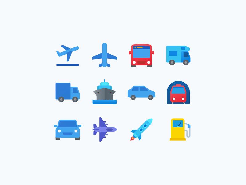 Fluent Icons: Transport flat icons color icons transportation icon icon designer icon designs icon set vehicles transport icon design icons ui ux web design illustration vector art design tools flat design graphic design design