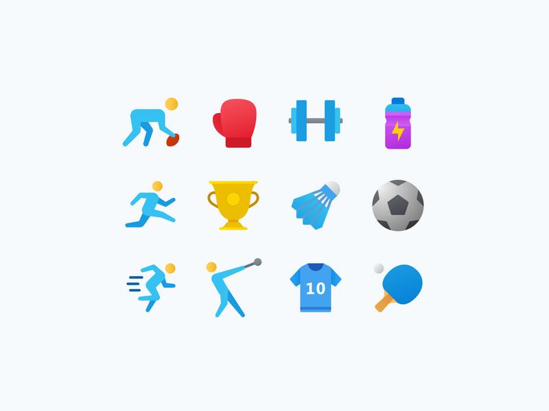 Fluent Icons: Sports icon graphics flat icons color icons icon designer icon designs sport icon set icon design sports icons ui web design ux illustration vector art design tools flat design graphic design design