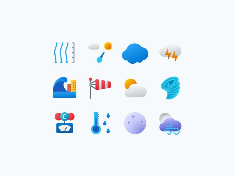 Fluent Icons: Weather icon designer icon color icons flat icons weather icons weather icons design icons pack icon design icon set user experience icons ui web design ux vector art design tools flat design graphic design design