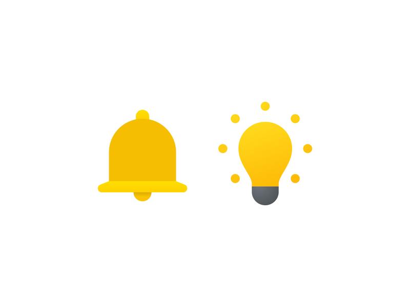 Fluent icons flatdesign light bulb notification bell icon graphic design design