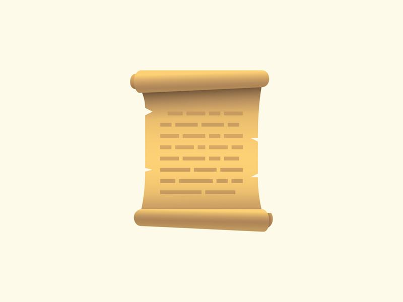 Scroll emoji illustraion vector art design graphic design script emoji papirus scroll