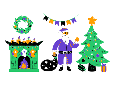Ho-ho-ho! Christmas is coming! christmas eve xmas christmas gifts santa claus santa christmas tree christmas vector art digital art ui web design illustration graphic design