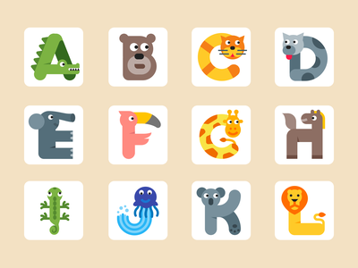 Cute alphabet icons vector design icons8 alphabet cute animals icons