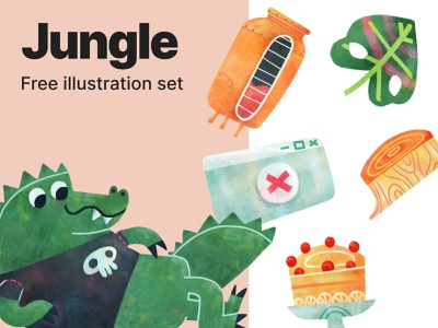 Jungle free illustrations jungle colorful png free freebie crocodile animal design tools graphic design illustration