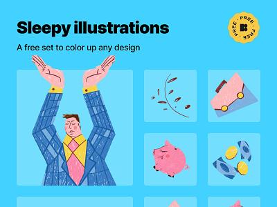 Free Sleepy illustrations freebie free finance banking piggy bank stock market investor business illustration business flat design illustration graphic design