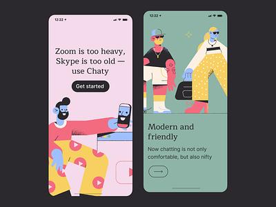 Pablo illustrations in mobile UI mobile app design tools messenger app bright mobile design vector illustration illustration ui mobile