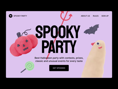 3D Halloween objects in web design 3d illustration october web holiday spooky scary treak or treat candy halloween ghost animation party landing ui web design pumpkin 3d halloween design