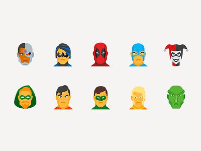Icons design superheroes marvel dc