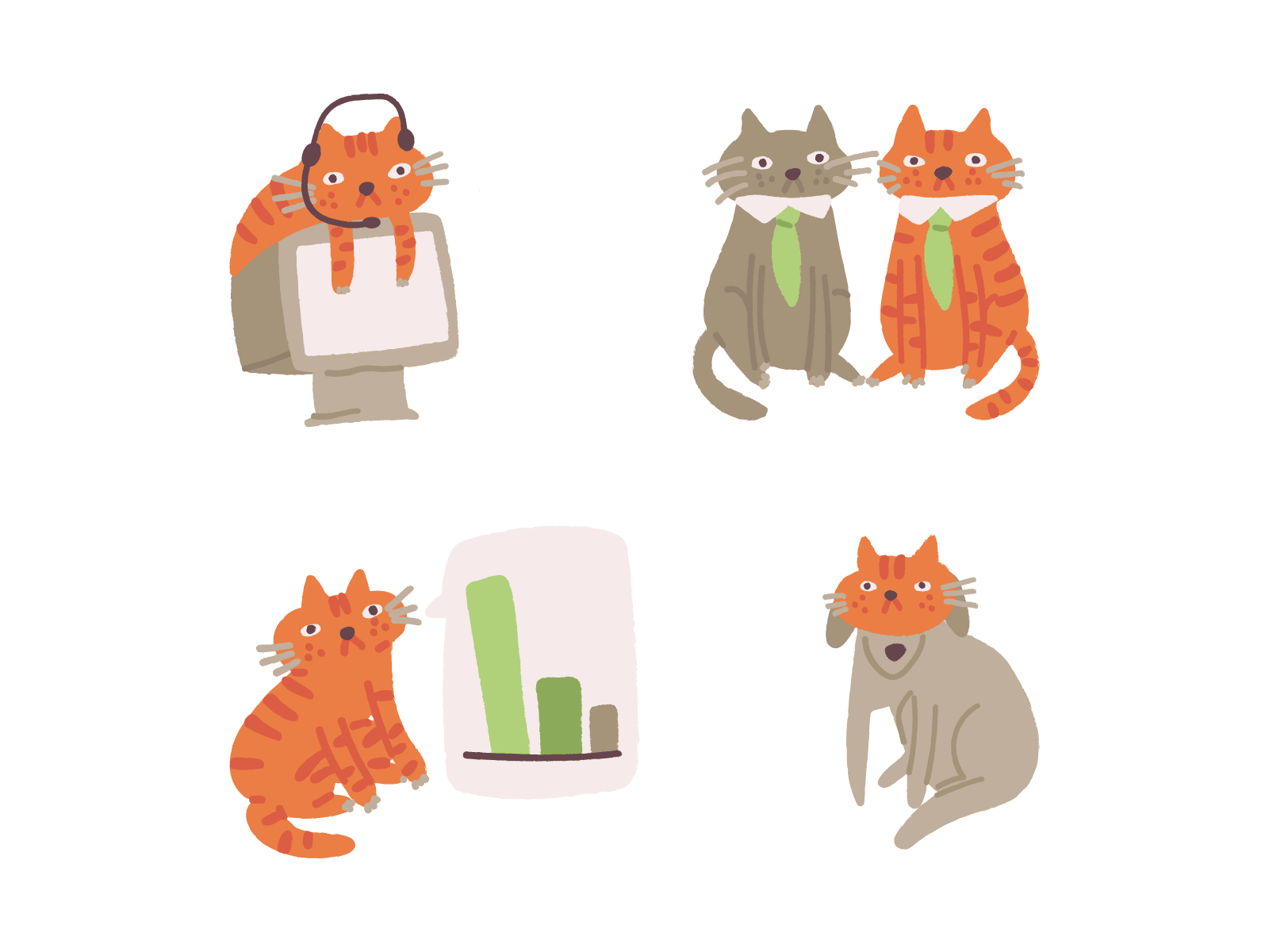 Ginger cat vector illustrations icons8