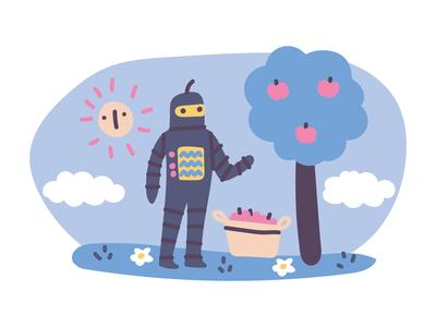 Helpful Robot Illustration