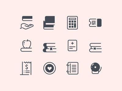 Pastel Glyph Education Icons