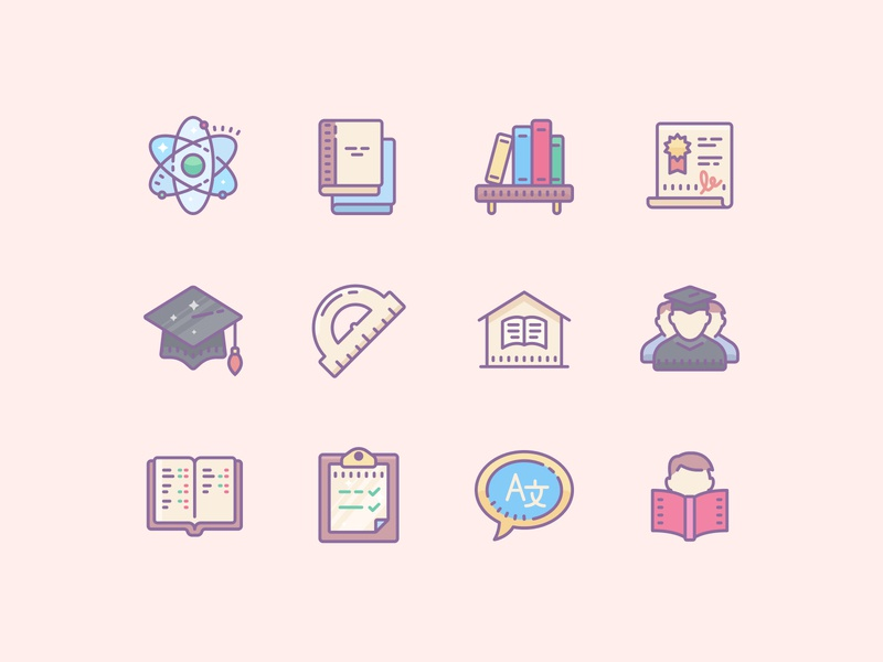 Cute Color Education Icons color icons icon pack icon design icons pack school study education app design icons user interface user experience ux flat design illustration ui web design design tools vector art graphic design design