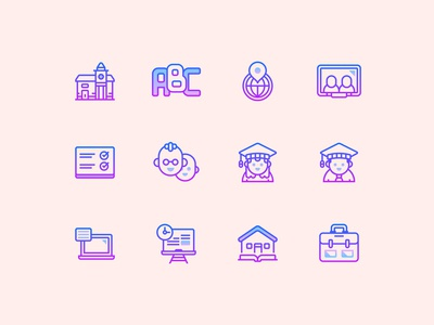 Gradient Line Education Icons