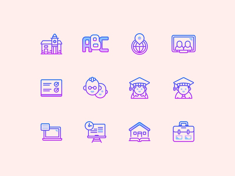 Gradient Line Education Icons icon pack icon design school education gradient icons app design user interface user experience vector ui illustrator web design design tools vector art ux flat design illustration graphic design design