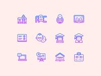 Gradient Line Education Icons