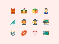 Flat Color Education Icons