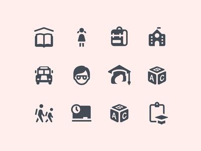 iOS Glyph Education Icons