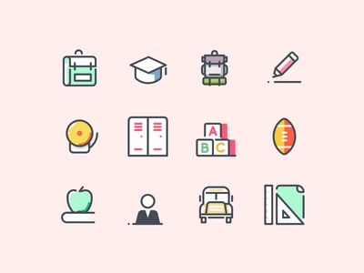 Pastel School and Education Icons