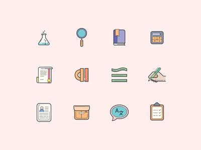 Color Hand Drawn Education Icons
