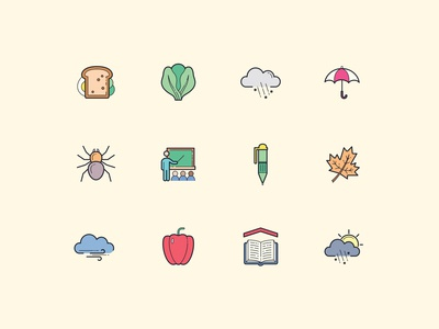 Hand Drawn Color Fall Icons