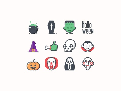 Halloween Color Icons vector illustration vector graphic horror trick or treat halloween design halloween icons icon pack icon set color icons halloween interface illustration character vector digital art design tools vector art illustration flat design graphic design design