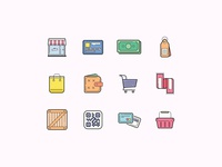 Shopping Icons in Color
