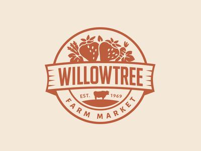 Farm Market Logo logo farm market identity badge emblem branding cow fruit vegetables ontario willow tree
