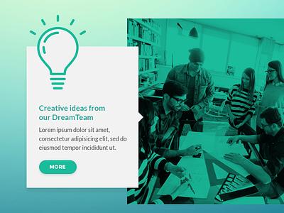 Creative Ideas Widget gradient green creative widget tooltip webdesign web userinterface interface uiux ux ui