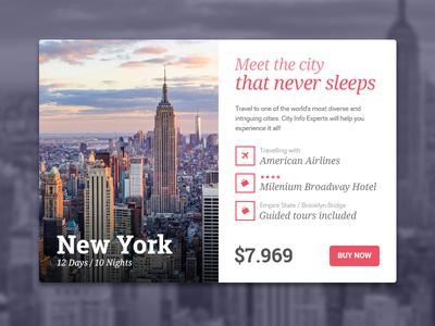 UI Travel Card, New York City tour package dailyui trip interaction web uidesign uxdesign nyc york new design ux ui
