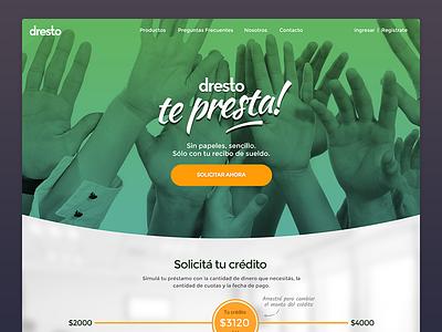 Dresto - Online personal loans hands slider color ui ux green loan landing homepage web