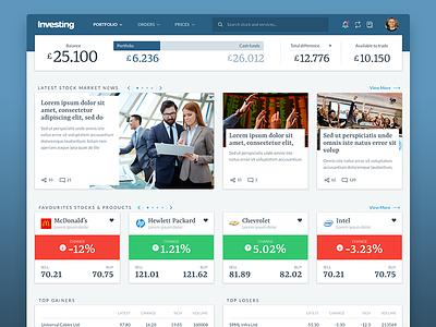 Investing - Stockbroking Dashboard userinterface webdesign ux ui stockbroking broker investing statistics analytics data dashboard