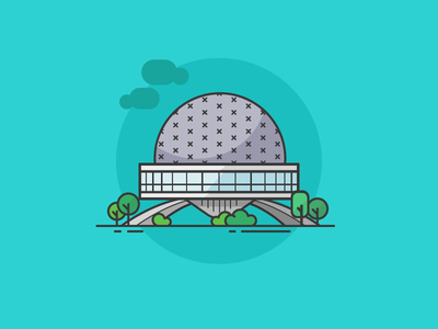 Planetario, Ciudad de Buenos Aires planetario observatory minimal lineicons icondesign icon bsas argentina architecture