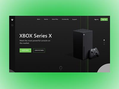 XBOX landing page concept. console ux dark microsoft concept page landingpage xbox branding ui app graphic design design