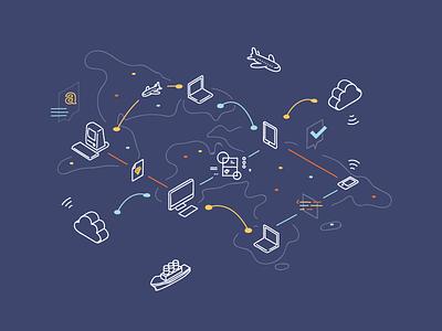 So remote, much abroad travel transit internet wireless remote world map illustration design icon