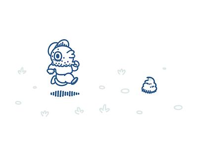 Run pigeon, run!. character design illustration poo pigeon running