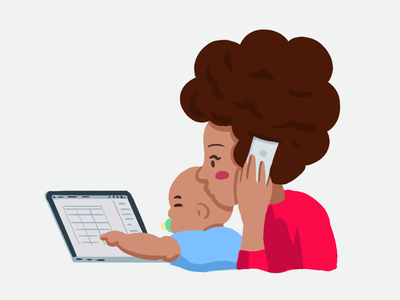 Working mother app stickers chat design character illustration job multitask work baby woman mother