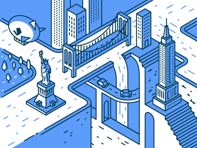 Aerolab meets Ustwo state empire liberty statue zeppelin valley monument isometric york new city illustration